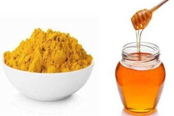 mật ong kết hợp với tinh bột nghệ